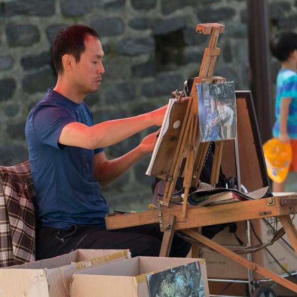 Artist painting a picture, Namsan Park, Namsan Mountain, Seoul, South Korea