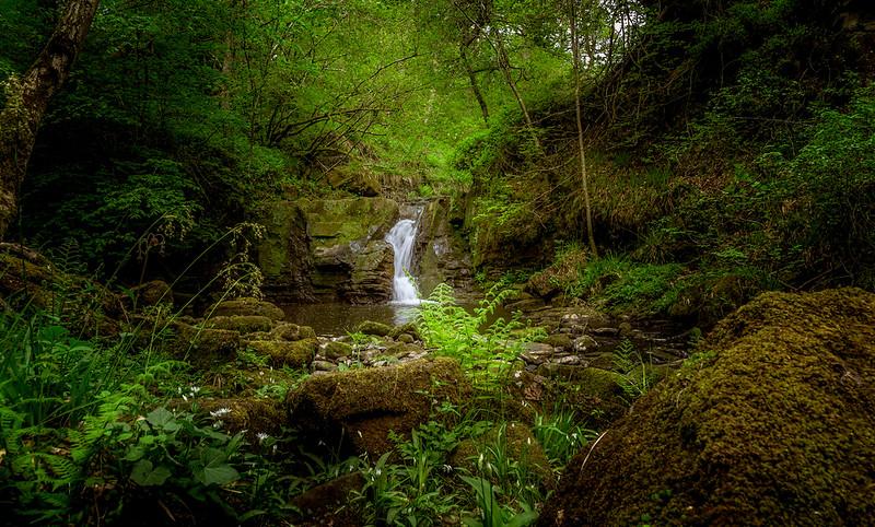 Small waterfall just before Hareshaw Linn waterfall.