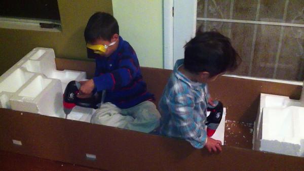 Boys at Work Drilling Foam
