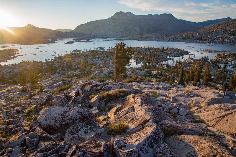 Lake Aloha fills a granite laden valley in the Desolation Wilderness near Lake Tahoe.
