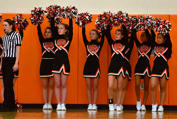 12/21/2018 Mike Orazzi | Staff Terryville High School Cheerleaders during Friday night's girls basketball game in Plymouth.