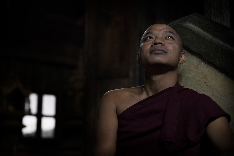 A monk in the Kan Tau monastery in Pindaya, Myanmar, 2017.