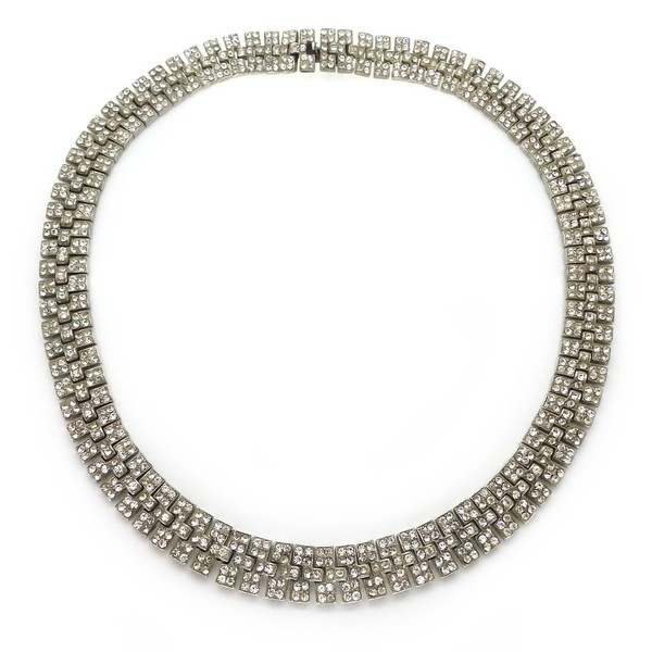 VINTAGE ART DECO STERLING SILVER RHINESTONE PANEL COLLAR NECKLACE
