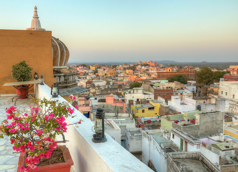 The view onto the small village of Deogarh from the terrace of the Palace — at Deogarh Palace.