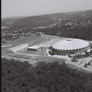 9125 Aerials of Evansdale and coliseum 1981