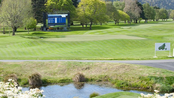 Photos of the 18th green and the electronic scoreboard at Royal Wellington Golf Club immediately prior to the hosting of the Asia-Pacific Amateur Championship tournament 2017 held in Heretaunga, Upper Hutt, New Zealand from 26 - 29 October 2017. Copyright John Mathews 2017.   www.megasportmedia.co.nz