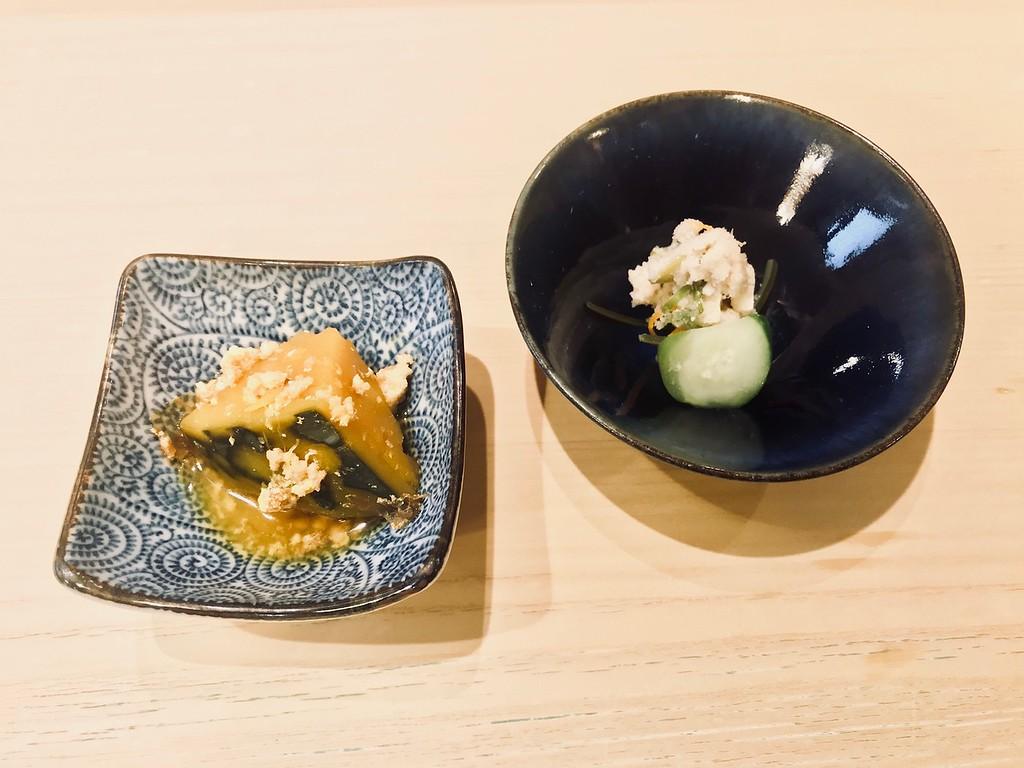 Side dishes: simmered kabocha pumpkin and okara (tofu lees).