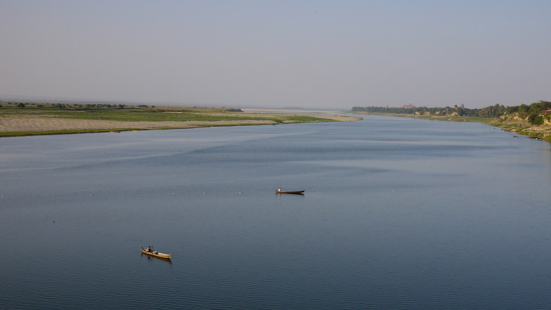 Irrawaddy River or Ayeyarwady River, in Bagan, Burma (Myanmar) from Bupaya.