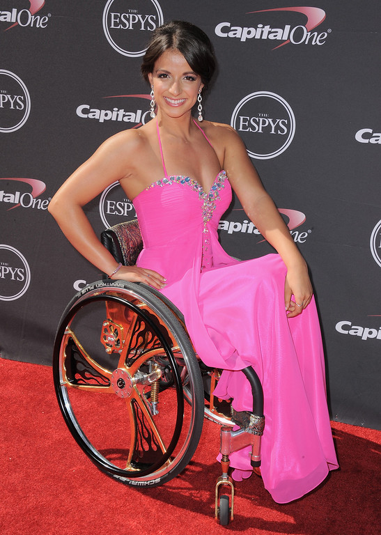 . Paralympian swimmer Victoria Arlen arrives at the ESPY Awards on Wednesday, July 17, 2013, at Nokia Theater in Los Angeles. (Photo by Jordan Strauss/Invision/AP)