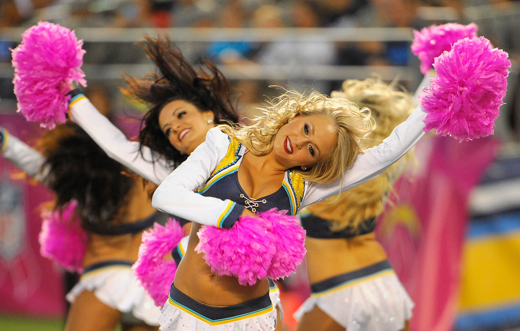. The San Diego Chargers cheerleaders perform as the Chargers play the Indianapolis Colts during the first half of an NFL football game Monday, Oct. 14, 2013, in San Diego. (AP Photo/Denis Poroy)