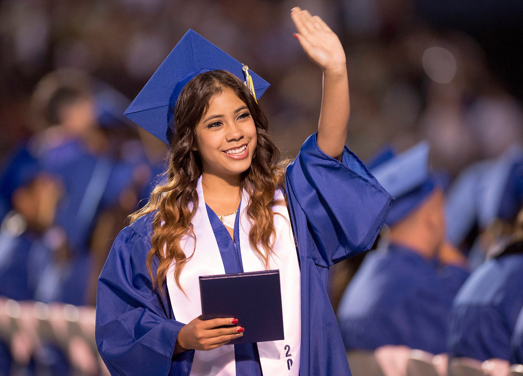 . Elizabeth Lord is all smiles after receiving her diploma during California High graduation at their Whittier campus stadium June 13, 2013.   (SGVN staff photo by Leo Jarzomb)