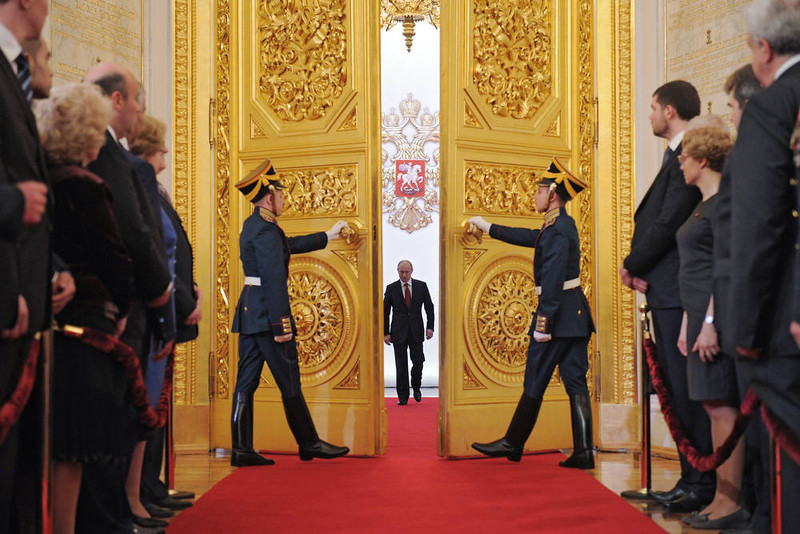 . Russia\'s President Vladimir Putin (C) enters Andreyevsky (St.Andrew\'s ) Hall at the Great Kremlin Palace in Moscow�s Kremlin, on May 7, 2012, during his inauguration ceremony. Putin took his oath of office today to become Russia\'s president for a historic third mandate at a glittering ceremony inside the Kremlin. AFP PHOTO/ RIA-NOVOSTI/ ALEXEY  DRUZHININ/AFP/Getty Images
