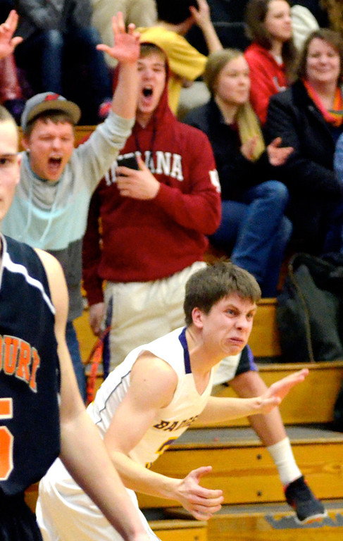 . Jeff Forman/JForman@News-Herald.com Luke reacts and fans cheer as he makes his shot.