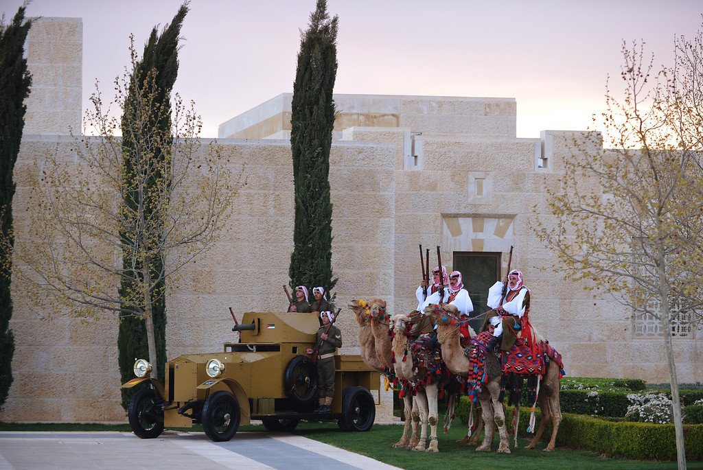 . Honor guard sit on camels near an antique armored personnel carrier during a welcome ceremony for the arrival of US President at Al-Hummar Palace on March 22, 2013 in the Jordanian capital Amman.   AFP PHOTO/MANDEL NGAN/AFP/Getty Images