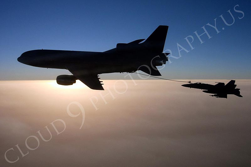 """AFGHANISTAN (Sept. 27, 2008) An F/A-18C Hornet assigned to the """"Stingers"""" of Strike Fighter Squadron (VFA) 113 refuels with a British Royal Air Force L-1011 aircraft in southern Afghanistan after conducting operations in the Helmand province. The Nimitz-class aircraft carrier USS Ronald Reagan (CVN 76) and Carrier Air Wing (CVW) 14 are providing support to coalition forces on the ground in Afghanistan. U.S. Navy photo by Cmdr. Erik Etz (Released)"""