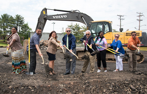06/05/19 Wesley Bunnell | Staff A groundbreaking ceremony was held at Chesley Park on Wednesday afternoon kicking off the second phase of planned renovations. Alderman Kristian Rosado, 2nd L, Mayor Erin Stewart, Chairman of Parks & Recreation Patrick Dorsey, Alderman Daniel Salerno and Parks and Recreation Director Erik Barbieri, far R.