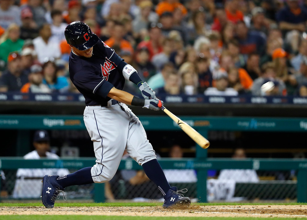 . Cleveland Indians\' Brandon Guyer hits a three-run home run against the Detroit Tigers in the eighth inning of a baseball game in Detroit, Friday, July 27, 2018. (AP Photo/Paul Sancya)