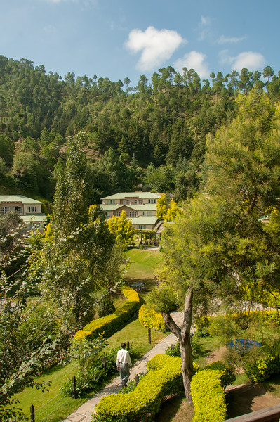 View from the dining area of Club Mahindra Binsar Valley Resort in the Kumaon Himalayan range. Binsar offers a breathtaking view of the snowy mountain ranges of Panchchuli, Shivling, Chaukhamba, Trishul and Nanda Devi.