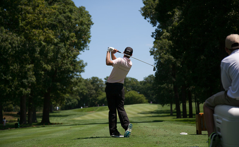 Chris Williams hits how tee ball on the par 3 8th hole during first round medal play at the 2012 Western Amateur Championship at Exmoor Country Club in Highland Park IL. on Tuesday, July 31, 2012. (WGA Photo/Charles Cherney)