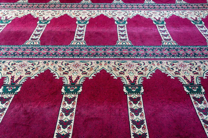 Prayer carpet at a mosque in Columbus