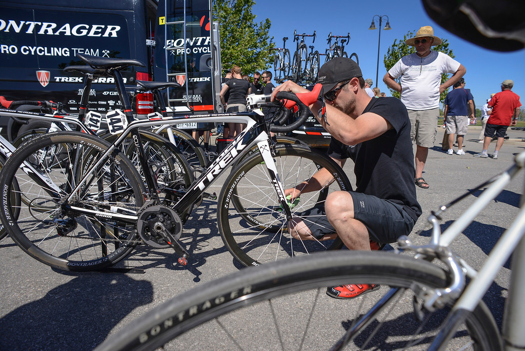 . Team Bontrager bikes are prepared for the start of Stage 3 of the Amgen Tour of California.  Stage 3 winds from Palmdale to Santa Clarita.    Photo by David Crane/Staff Photographer