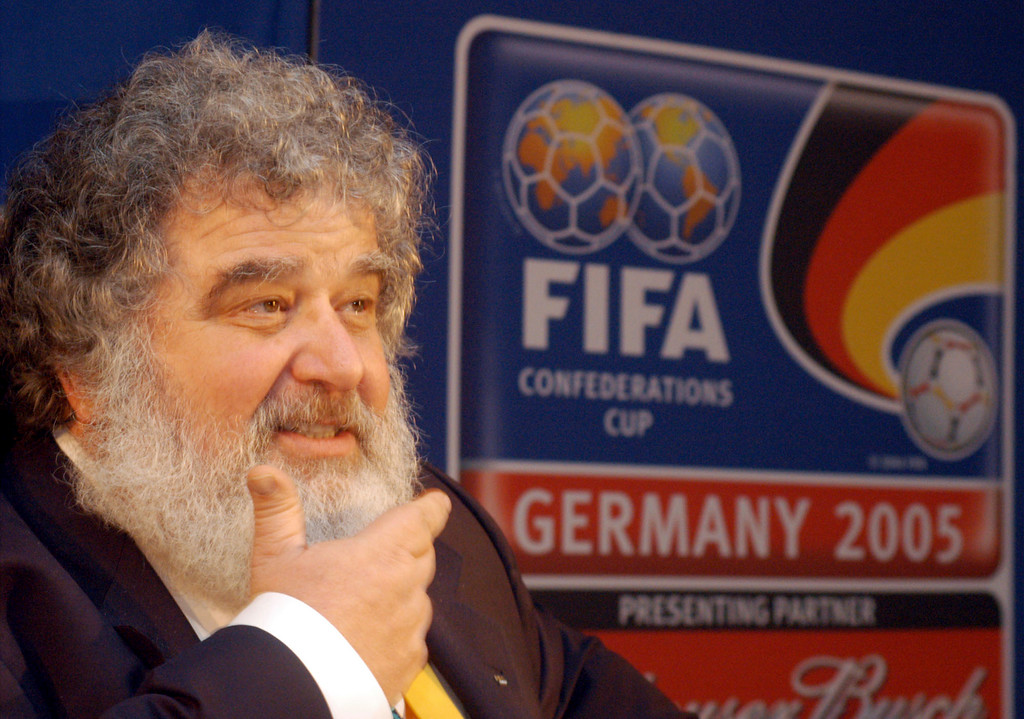 . FILE - In this Feb. 14, 2005 file photo, Confederation of North, Central American and Caribbean Association Football (CONCACAF) general secretary Chuck Blazer attends a press conference in Frankfurt, Germany. Blazer, the disgraced American soccer executive whose admissions of corruption set off a global scandal that ultimately toppled FIFA President Sepp Blatter, has died. He was 72. Blazer\'s death was announced Wednesday, July 12, 2017, by his lawyers, Eric Corngold and Mary Mulligan. (AP Photo/Bernd Kammerer, File)