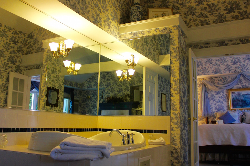bathroom and bedroom at the Manor on Golden Pond in Holderness, New Hamsphire