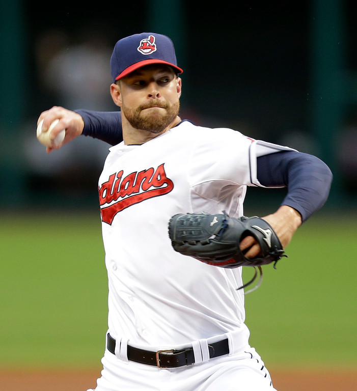 . Cleveland Indians starting pitcher Corey Kluber delivers in the first inning of a baseball game against the Detroit Tigers, Friday, June 20, 2014, in Cleveland. (AP Photo/Tony Dejak)