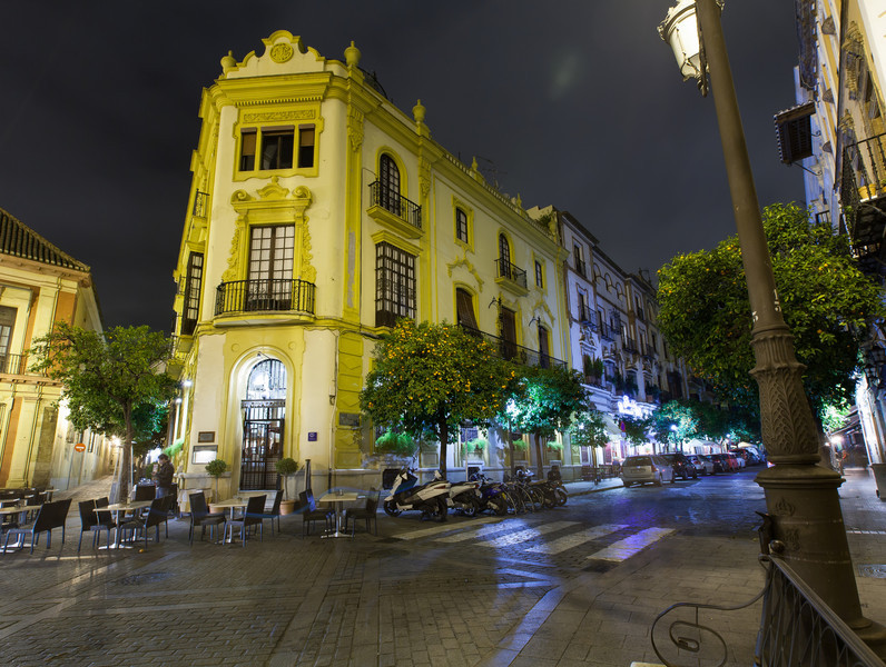 A typical street in Seville - this was near the Seville cathedral.