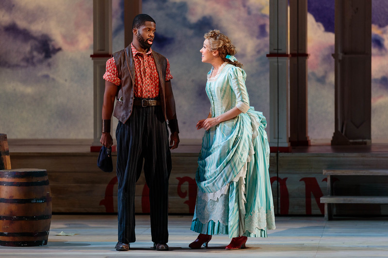 "Justin Hopkins as Joe and Lauren Snouffer as Magnolia Hawks in The Glimmerglass Festival's 2019 production of ""Show Boat."" Photo Credit: Karli Cadel/The Glimmerglass Festival"
