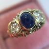 1.75ctw Cab Sapphire and Old European Cut Diamond 3-stone Ring 10