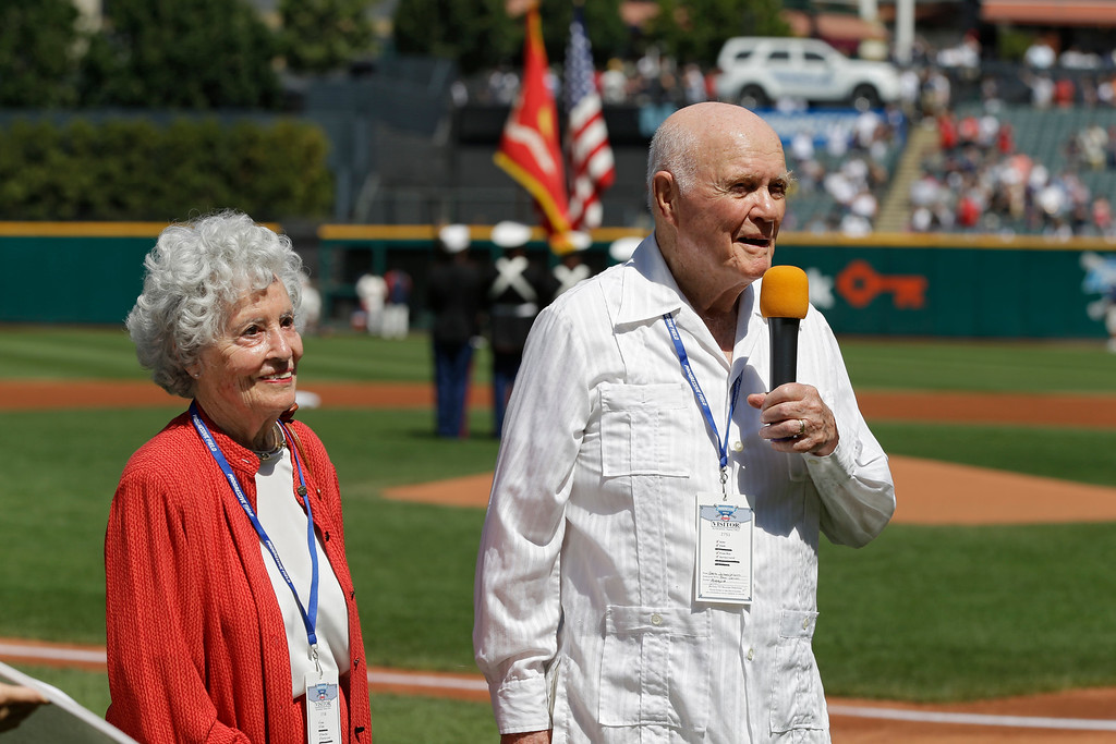 . Former astronaut and senator John Glenn and his wife, Annie, before a baseball game between the Cleveland Indians and the New York Yankees Sunday, Aug. 26, 2012, in Cleveland. (AP Photo/Mark Duncan)
