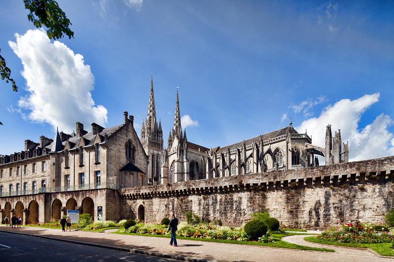 The battlements and the Cathedral of Quimper, departament of Finistere, region of Brittany, France