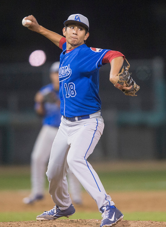 . Los Altos High starting pitcher Isaiah Roybal vs Damien High School in Dick\'s Sporting Goods Baseball Tournament at Mt. SAC Feb. 27, 2013.  (SGVN/Staff photo by Leo Jarzomb)