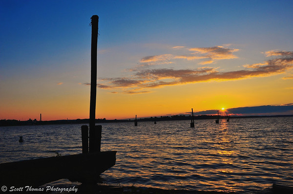 An almost sunset on Onondaga Lake at the end of the Creekwalk in Syracuse, New York.