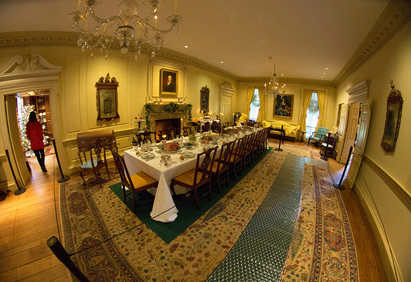 The Drawing Room set up for a formal banquet.  The item in the far left center is a Glass Armonica.   (see, e.g.  http://www.uh.edu/engines/epi1386.htm )