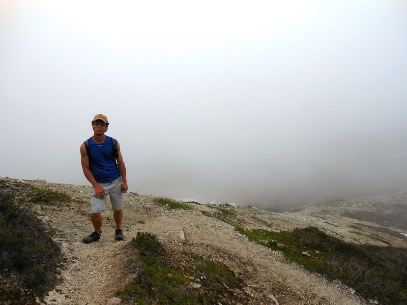 The fog rolled in on our hike back to camp.