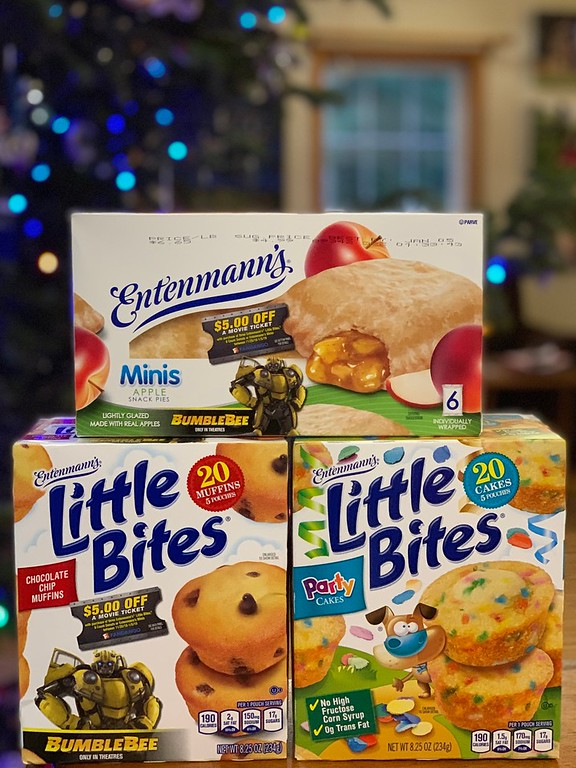 Offer & giveaway! Purchase 3 Entenmann's® Little Bites® muffins, 8 count donuts or Entenmann's® Minis, to receive $5.00 off a movie ticket for BUMBLEBEE #ad