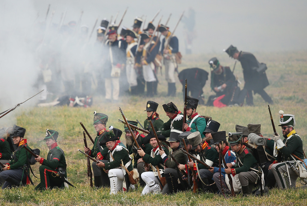 . Historical society enthusiasts in the role of Prussian troops fighting against Napoleon advance during the re-enactment of The Battle of Nations on its 200th anniversary on October 20, 2013 near Leipzig, Germany.  (Photo by Sean Gallup/Getty Images)