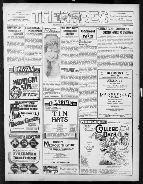 Daily Trojan, Vol. 18, No. 47, November 19, 1926