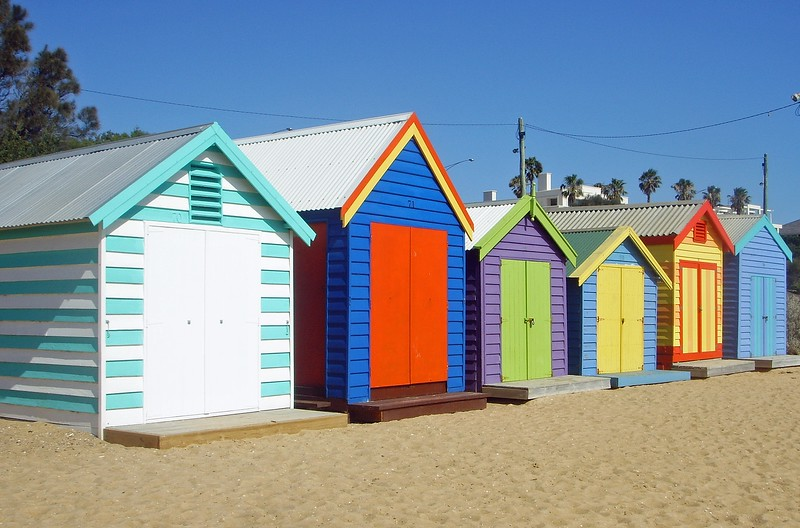colorful beach boxes