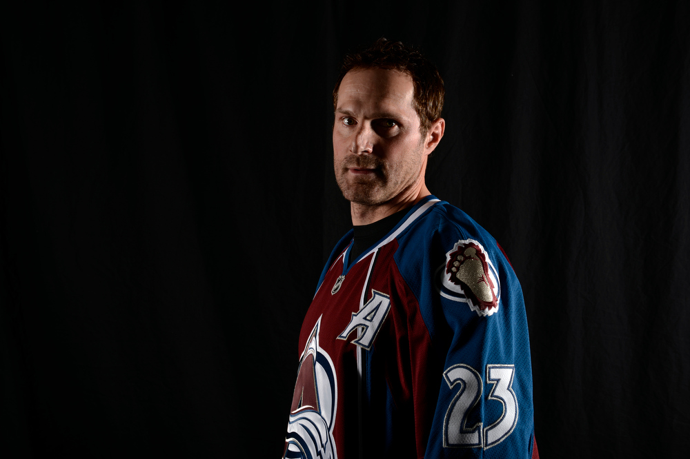 . The Colorado Avalanche right wing Milan Hejduk (23)poses for a portrait prior to their game against the Los Angeles Kings at Pepsi Center January 22, 2013.  (Photo By John Leyba / The Denver Post)