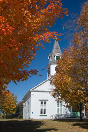 Rural New England Church in Autumn