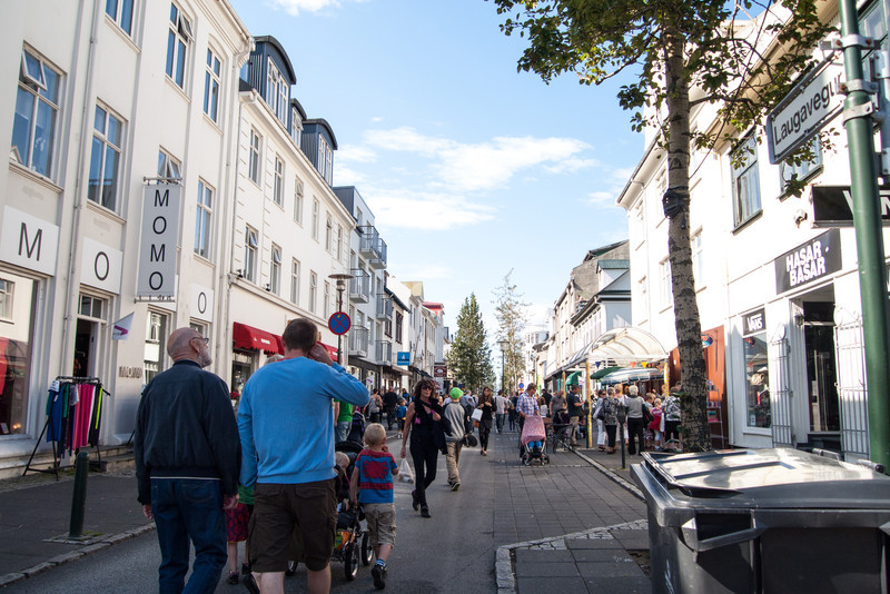 Street scene around midafternoon on Lugevegur street - Culture NIght 2012