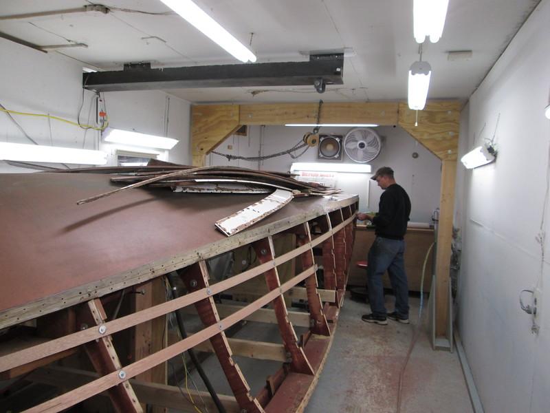 Starboard side battens being installed.