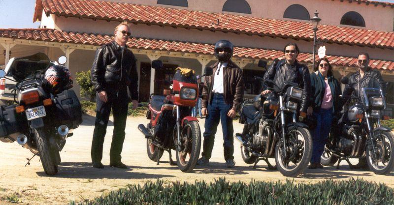 Me, (BMW R100S), Ted, (1983 Kawasaki GPz550), Rocky, (Yamaha Seca 750), Jackie and Paul, (Yamaha Seca 750) Temecula winery