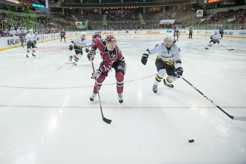 Miks Indrasis (70) and Adam Masuhr (8) in the KHL regular championship game between Dinamo Riga and Severstal Cherepovets, played on January 3, 2017 in Arena Riga
