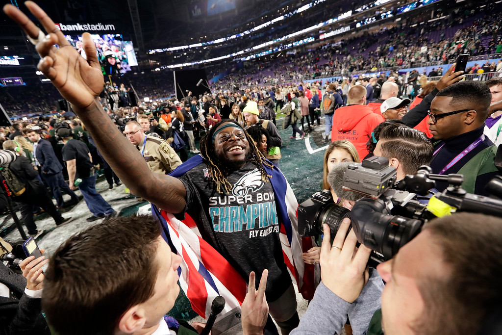 . Philadelphia Eagles running back Jay Ajayi celebrates after winning the NFL Super Bowl 52 football game against the New England Patriots, Sunday, Feb. 4, 2018, in Minneapolis. The Eagles won 41-33. (AP Photo/Frank Franklin II)