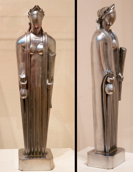 Two views of the model of John Storrs' sculpture of Ceres.  (From the Chicago Art Institute.)