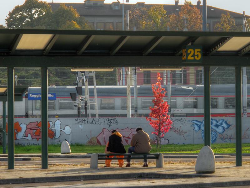 Waiting for the BUS - Piazzale Europa, Reggio Emilia, Italy - October 19, 2010